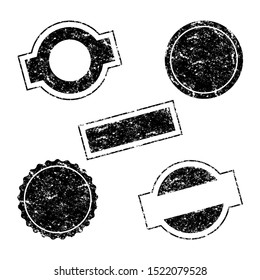 Vector Stamp without text. Set of Stamps. Black Stamps. Grunge Rubber Texture Stamp. Distressed Stamp Texture. Post Stamp Collection. Vector Stamps. Circle Stamps.