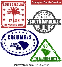 Vector stamps of South Carolina state in United States with map and nickname - The Palmetto State