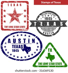 Vector stamps of Texas state in United States with map and nickname - The Lone Star State