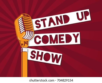 Vector stand up comedy microphone illustration on sunburst background