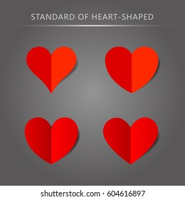 Vector standard heart shape pattern set