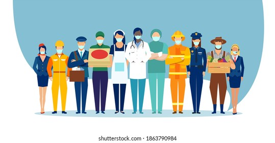 Vector of a standing group of essential workers wearing face masks