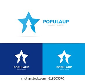 Vector of star and arrow up logo combination. Leader and growth symbol or icon.
