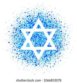 Vector star of David  icon with blue confetti