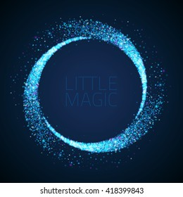 Vector star dust circle. Magic glittering illustration. Bright sparks and stars on dark background