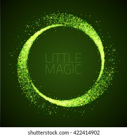 Vector star dust circle. Magic glittering illustration. Bright green sparkles and stars on dark background
