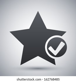 Vector star favorite icon with check mark glyph