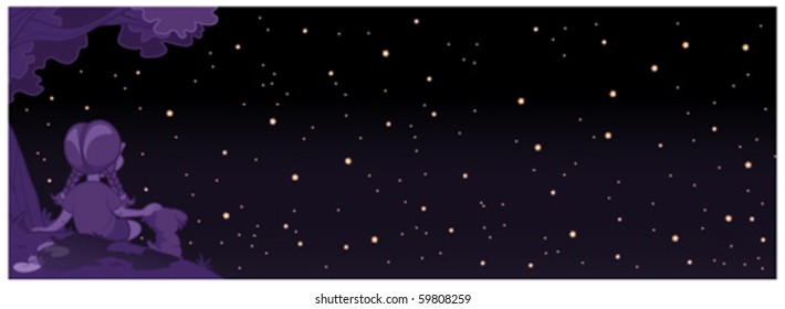 Vector - Star Gazing. A peaceful illustration of a little girl and her puppy staring into the night sky. The little dipper can be seen on the right.