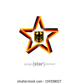 The vector star with Germany flag colors and coat of arms