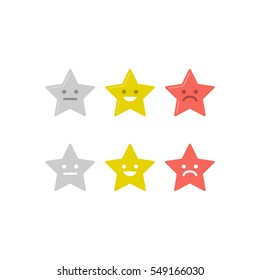 Vector star icon set in 2 different style. Modern flat rating icons.