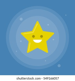 Vector star icon with smile on blue background. Modern flat illustration.