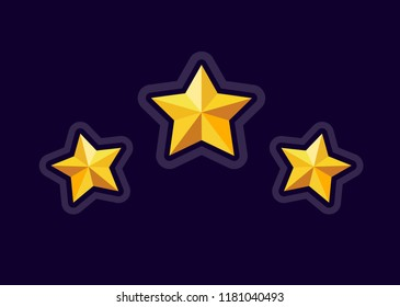 Vector star icons. Golden stars for game, ui, design for app, interface, game development. Vector star. Level complete. Level up. Game art. Star icon.