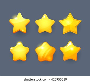 Vector star icons set. Collection icon design for game, ui, banner, design for app, interface, game development. Cartoon isolated vector star