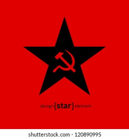 The vector star with socialist symbols