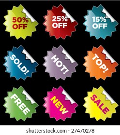 vector starburst stickers for retail and other use