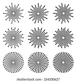vector starbursts black symbols
