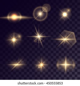 Vector starlight effects. Set of golden outbursts on transparent background. Release clipping mask for work.