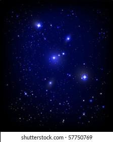 vector starry night sky and Orion nebula