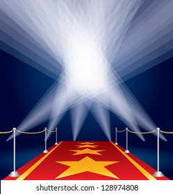vector stars on red carpet and spotlights