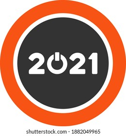 Vector start 2021 round button illustration. An isolated illustration on a white background.