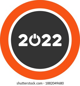 Vector start 2022 round button illustration. An isolated illustration on a white background.