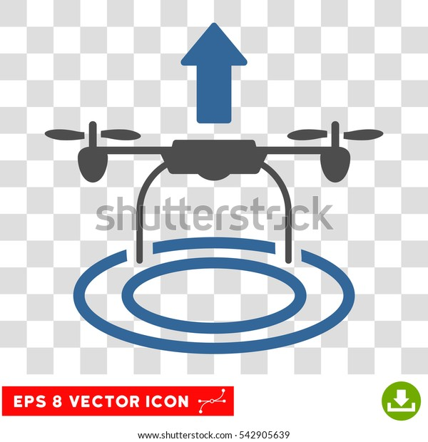 Vector Start Drone EPS vector pictogram. Illustration style is flat iconic bicolor cobalt and gray symbol on a transparent background.