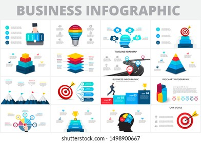 Vector startup infographics, diagram chart, graph and presentation. Business report with 4, 5 and 6 options, parts, steps processes. Lightbulb, circles, target, pyramid and timeline.