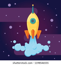Vector startup rocket business launch concept with space background