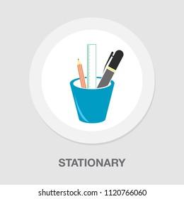 vector stationary icon, office illustration set