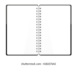 Vector. Stationery. An open pocket book / diary / notebook / scrapbook / textbook / notepad / organizer / sketch book / journal / drawing pad. Isolated illustration. White blank pages