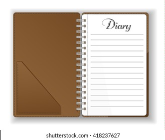 Vector. Stationery. An open pocket diary / notebook / scrapbook / textbook / notepad / organizer /  journal. Isolated illustration. Blank pages.