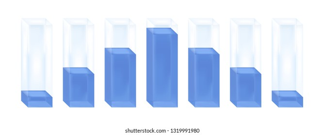 Vector statistical illustration of histogram. Glass columns with blue liquid characterizing the normal distribution or Gaussian distribution. Percentage increase and decrease. Isolated on white.