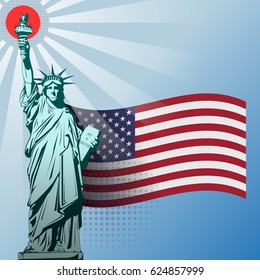 Vector statue of freedom with rays diverging from the torch against the background of the flag of the United States of America