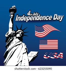 Vector Statue of Liberty with a USA flag. Nice patriotic holiday image for Independence Day, Memorial Day, Veterans Day and Presidents Day