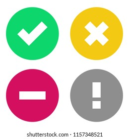 Vector Status Icon Set. Including such statuses as Active, Do Not Disturb, Busy, Blocked. Color flat icons.