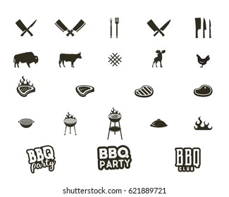 Vector Steak house and grill silhouette textured icons. Black shapes isolated on white background. Included grill equipment, tools, elements and typography signs - bbq party concept and other