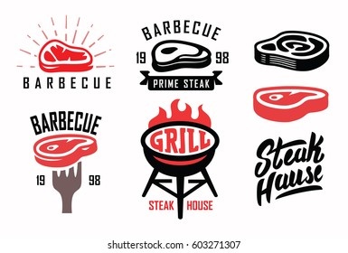 vector steak house typography labels and grill emblems