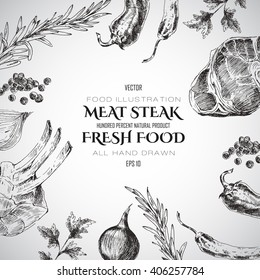 vector steak meat hand drawing with pepper and rosemary. detailed food design template. meat design for corporate identity. barbecue and grill elements for restaurant menu.