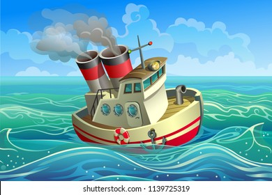 Vector steamer. A small steel ship with two pipes goes along the waves.