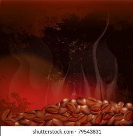 vector steaming coffee beans on the background of grungy wall