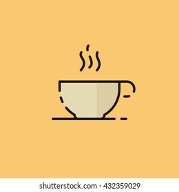 Vector Steaming coffee cup icon. Flat style.