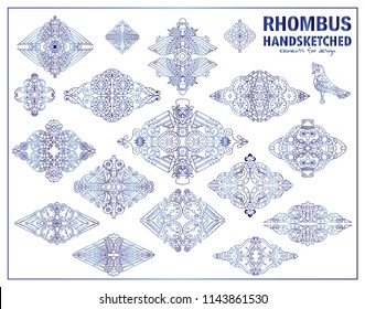 Vector steampunk elements for design. Ornate rhombus for logo, emblem, labels. Steampunk, mechanical clock, gear, bird sketch collection. Vintage design, blue watercolor style
