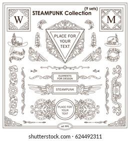 Vector Steampunk elements for design. Ornate vintage corners, frames, template for logo, divider, vignette. Square, rectangle, triangle elements. Different elements in each set, classic design Set 6
