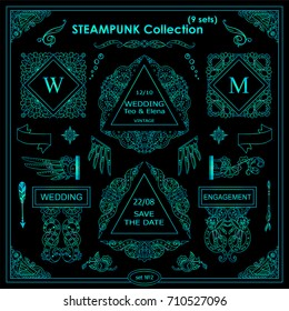 Vector Steampunk elements for design. Ornate vintage corners, frames, template for logo, divider, vignette. Square, rectangle, triangle elements. Different elements in each set, blue neon color