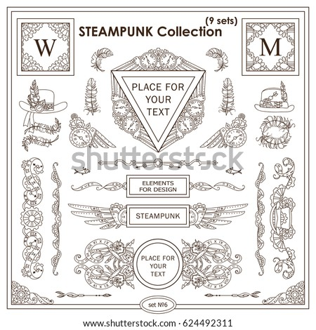 vector steampunk elements design ornate vintage stock vector