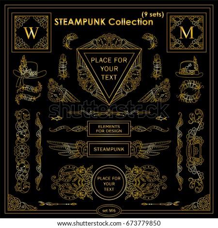 vector steampunk elements vintage corners frames stock vector