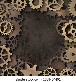 Vector steampunk frame with metallic gears, realistic shadow on grunge background.