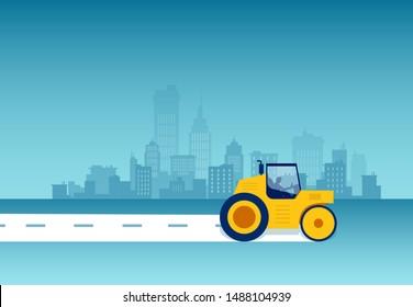 Vector of a steamroller leveling asphalt on a cityscape background