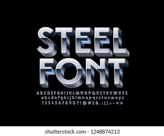 Vector Steel 3D Font. Set of Silver Alphabet Letters, Symbols and Numbers