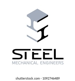 Vector steel mechanical engineers logo design with steel beams icon